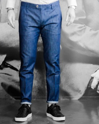 paolo pecora pantalon toile jeans légère navy revolt orleans
