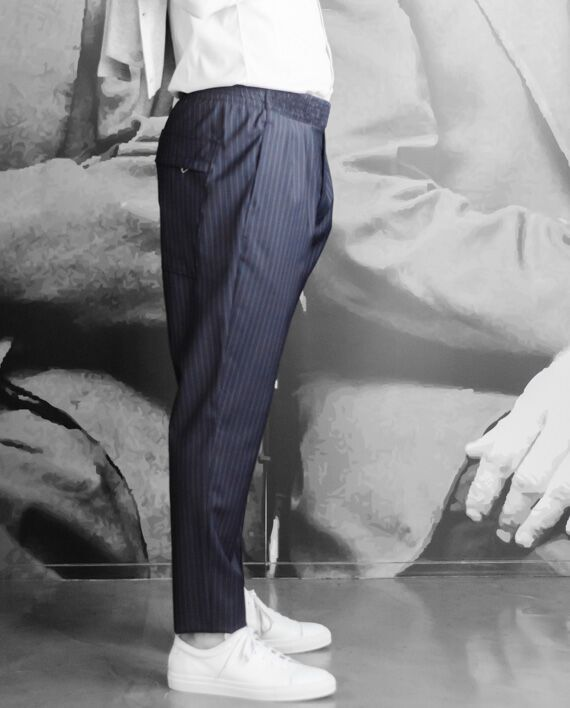 paolo pecora pantalon toile marine rayée revolt orleans