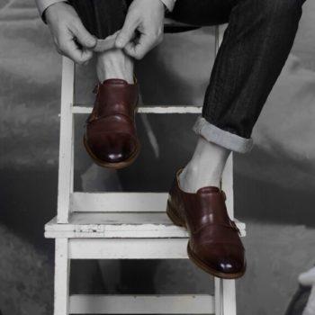 Paradigma chaussure double boucle délavée marron revolt orléans