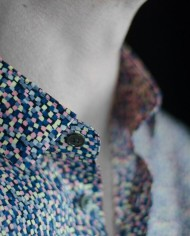 Marchand Drapier chemise flore print rose détail col