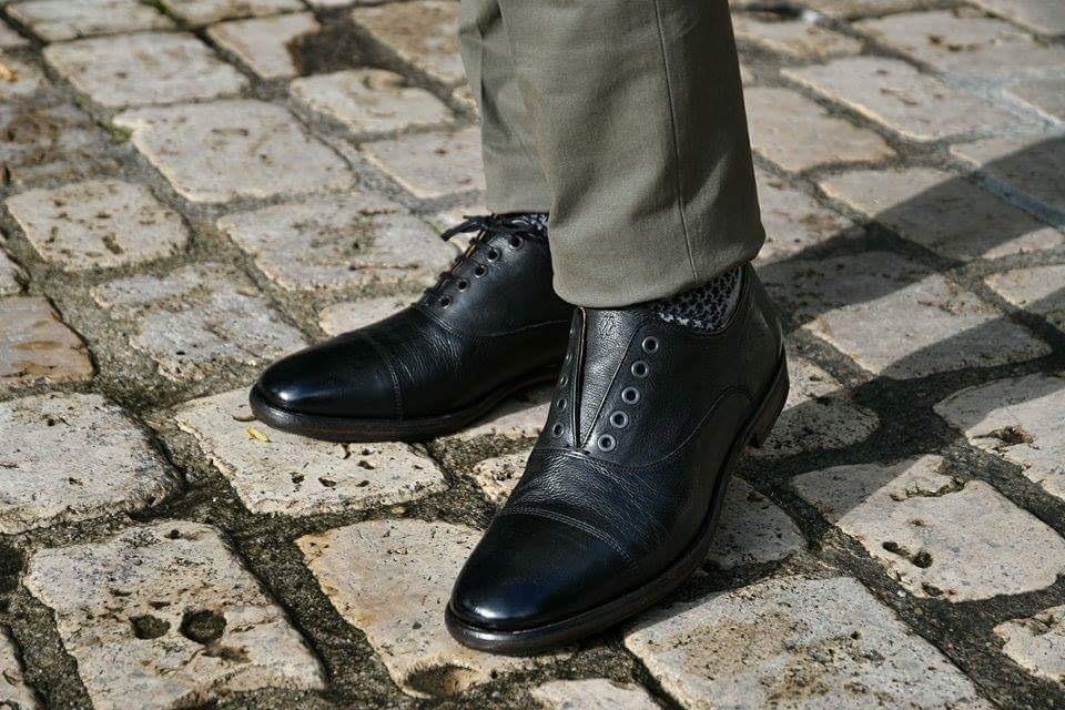 Paradigma chaussures richelieu cuir délavé noir revolt orléans