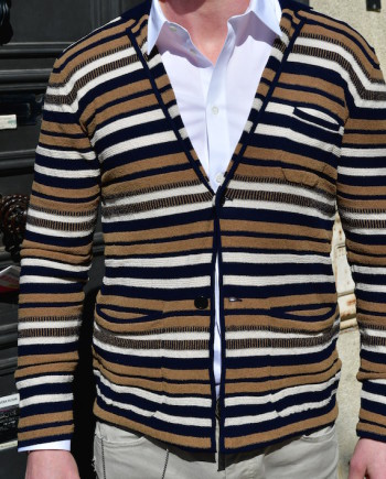 Paolo Pecora cardigan veste rayé multicouleur coton Revolt orléans