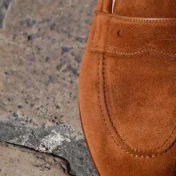 Paradigma chaussure mocassin cuir veau velours camel revolt orléans