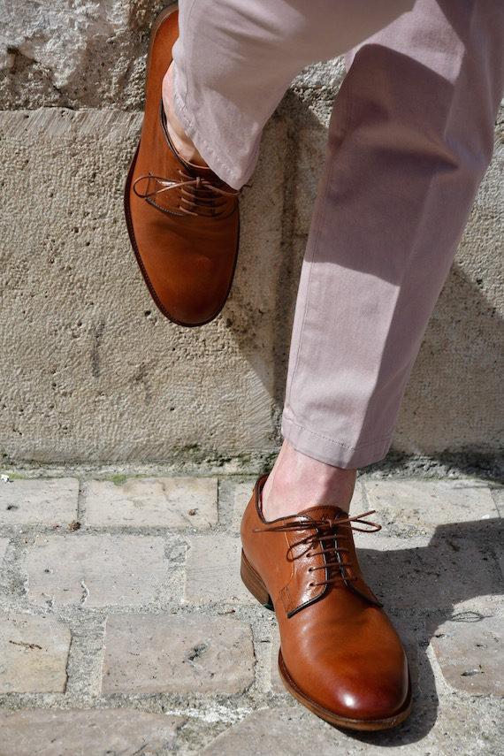 Paradigma chaussure derby délavé chestnut revolt orléans