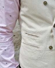At.p.co gilet tailleur croisé écru détail poches