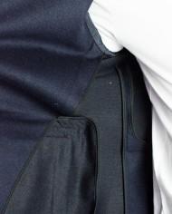 Paolo Pecora veste jersey croisée marine détail intérieur