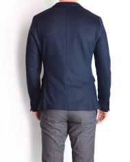 Paolo Pecora veste jersey croisée marine dos