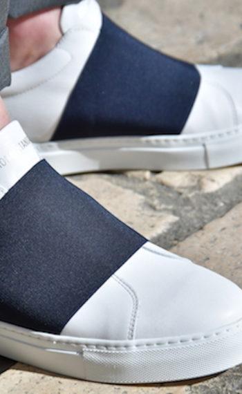 National Standard édition 33 en cuir blanc avec bande élastiquée marine homme Revolt Orleans