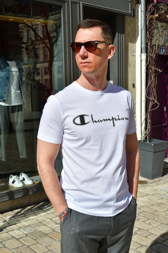 Paolo pecora x champion t-shirt manches courtes blanc noir Revolt Orléans