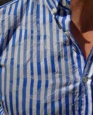 Aglini chemisette rayée détail col
