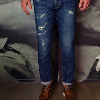 Jeans Manx bleu délavé usé Messagerie Revolt Orléans