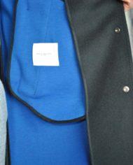 Paolo Pecora mant laine cach noir détail int