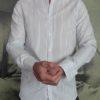 Aglini chemise blanche rayée navy revolt orleans