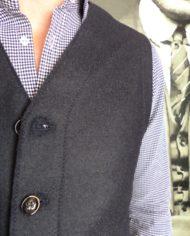 Paolo Pecora gilet tailleur laine navy détail
