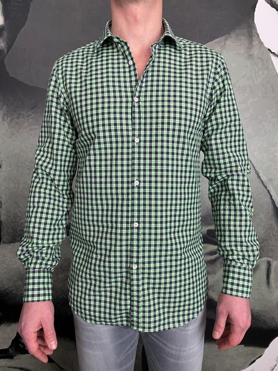 Aglini chemise seersucker carreaux vert revolt orleans
