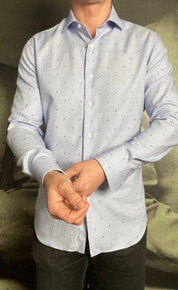 Grigio chemise tissée ciel points broderie marine revolt orleans