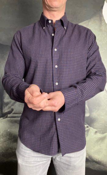 Griogio chemise coton gratté carreaux marron navy revolt orleans