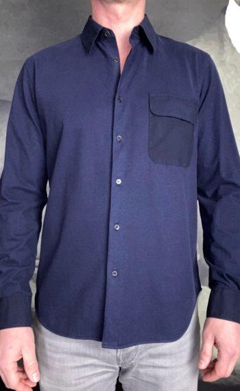 Aspesi chemise bi matière marine revolt orleans