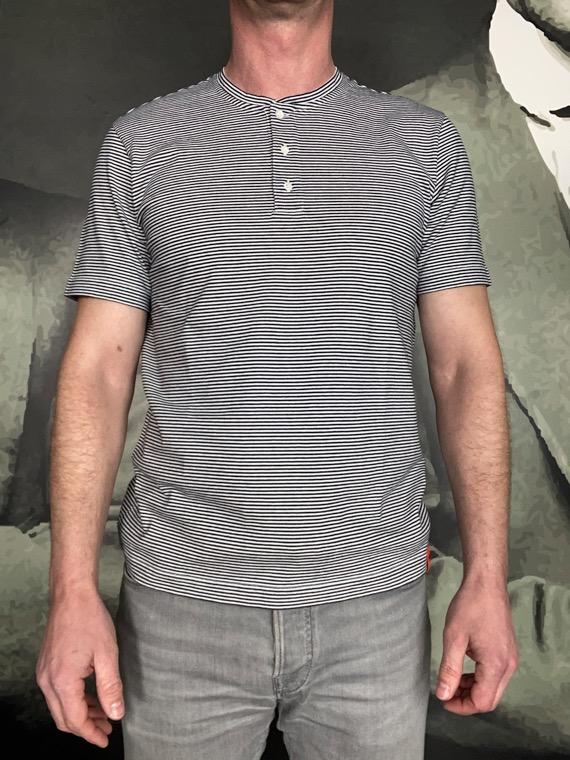 Aspesi t-shirt jersey coton rayé marine blanc revolt orleans